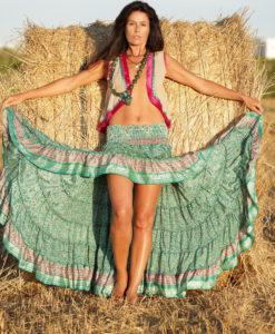 Falda verde free love Ibiza boho chic Dalias Damares