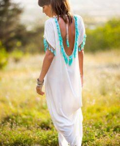 Vestido borlas espalda blanco roto