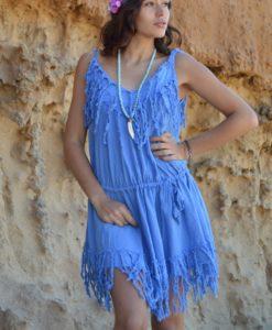 Vestido ibicenco flecos azul Tony Bonet Ibiza