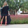 poncho negro pompones turquesa Falda Free Love