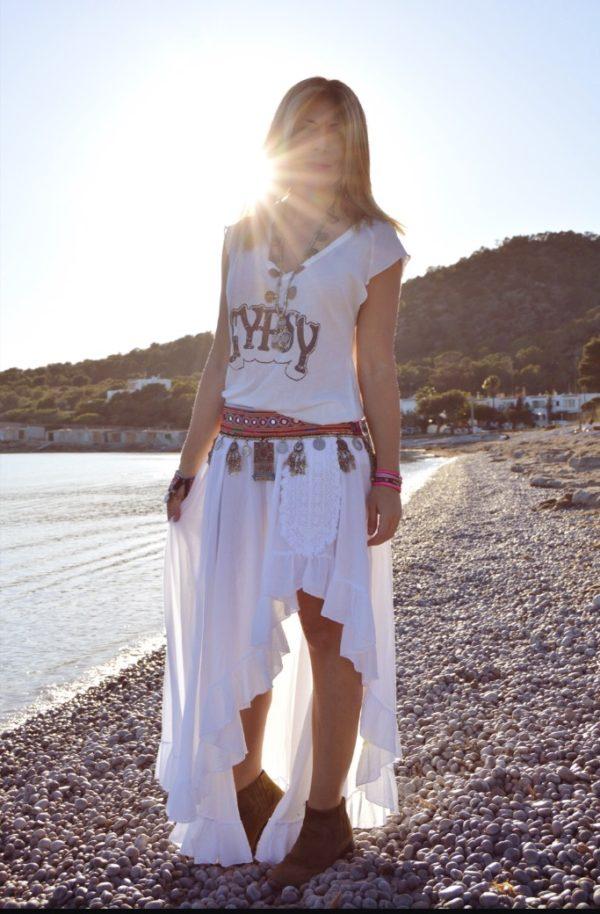 Gyspy skirt Ibiza Trendy white boho chic blog