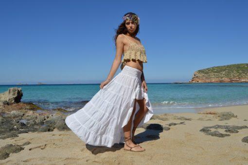Falda ibicenca asimetrica blanca Free Love Ibiza Trendy