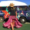 gypsy Ibiza skirt Free Love asymmetrical in fucshia judit-1