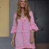 Vestido rosa con borlas ibiza trendy fioroni cuadrada-1