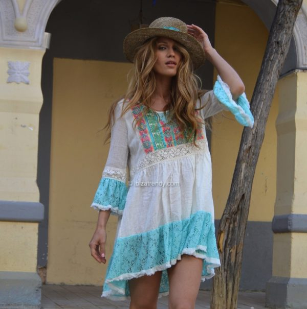 boho chic dress blue Fioroni