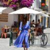 boho chic pasley long dress Ibiza Trendy in blue