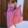 Julia look vestido rosa ibiza beach