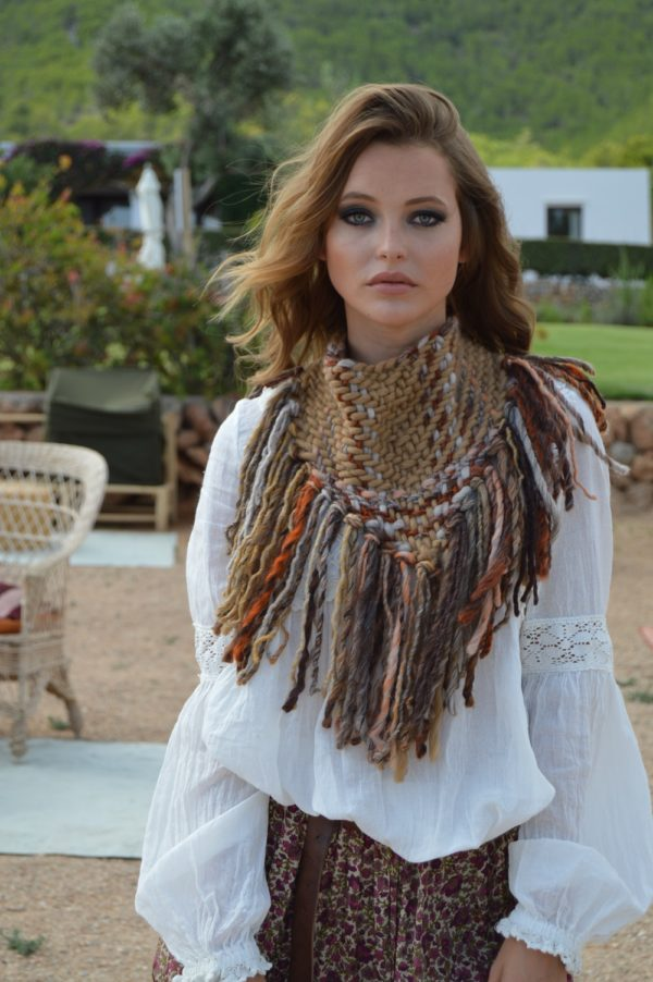cuello marron lana boho chic ibiza