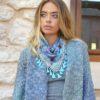 Authentic Izuskan mini scarf in blue arabic