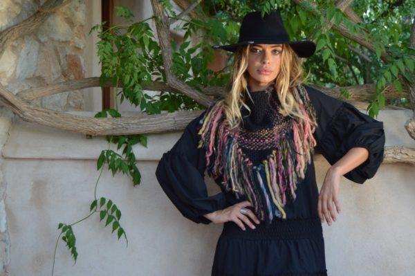 Fringe poncho collar made in Ibiza
