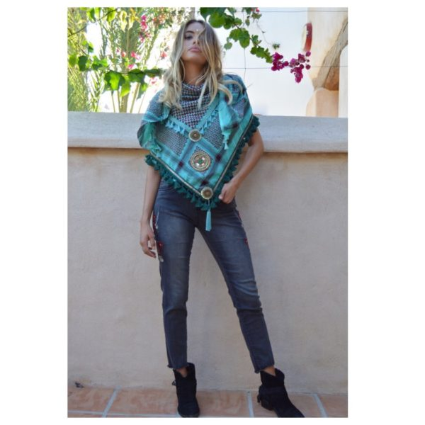 Izuskan maxi scarf in blue green boho chic ibiza