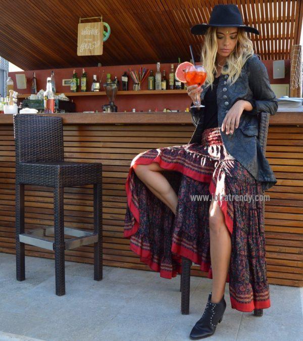 ma Falda free negra levita militar boho chic Ibiza Trendy red