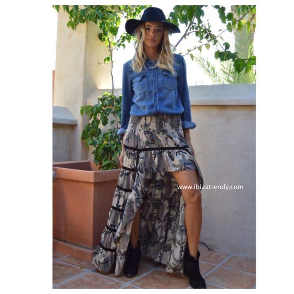 ma camo asymmetrical skirt Free Love Ibiza Trendy 1