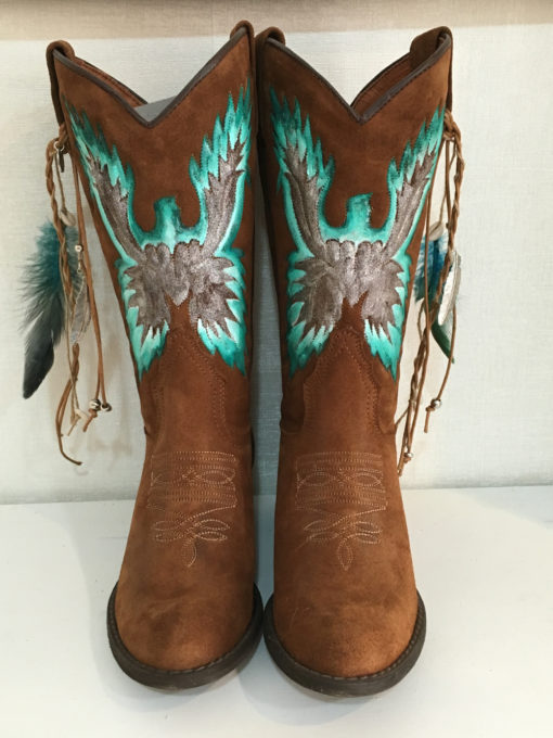 Turquoise boots ibiza trendy leather eagle