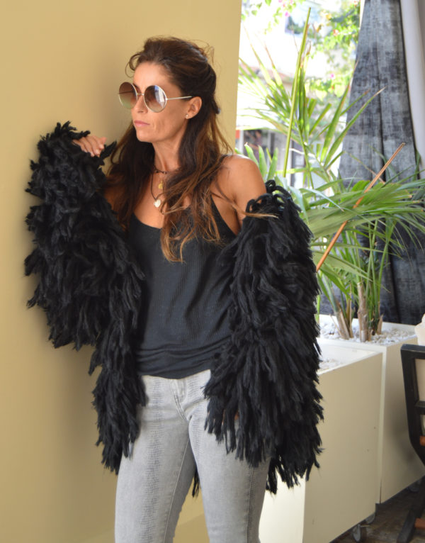 fringe boho jacket ibiza trendy in black