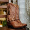 cowgirl boots feathers in brown ibiza trendy