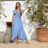 Long ibiza wrap dress in blue
