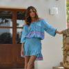 Mini falda ibienca y blusa azul turquesa boho chic