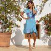 Pippa warp dress turquoise print aussie style ibiza trendy