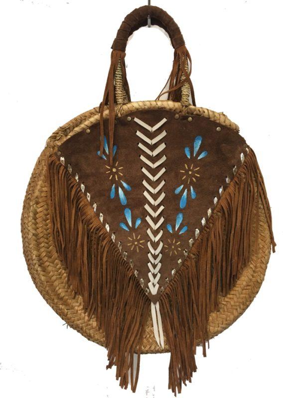 Roundie basket leather fringes handpainted