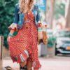 ibizaboho girl wrap red dress ibiza trendy