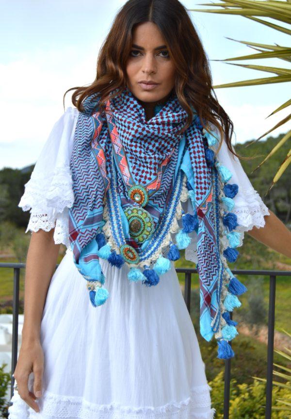 izuskan maxi scarf in blue ibiza trendy