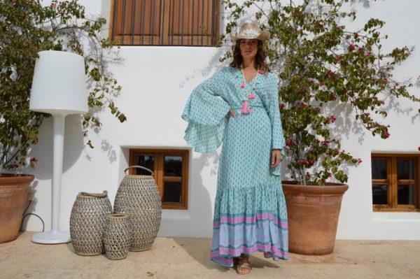 maxi vestido mangas murcielago Megan verde Ibiza Trendy