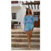 mini falda ibicenca color turquesa y top boho ibizatrendy