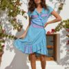 pippa wrap dress in turquoise