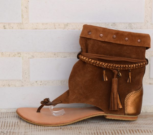 sandalias bota piel ibiza tostado