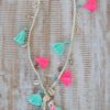 tassel pink turquoise leather necklace ibiza