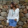 Blusa blanca puntillas hecha en Ibiza Fioroni Collection