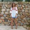 Blusa boho pompones color rosa Ibiza Trendy Fioroni