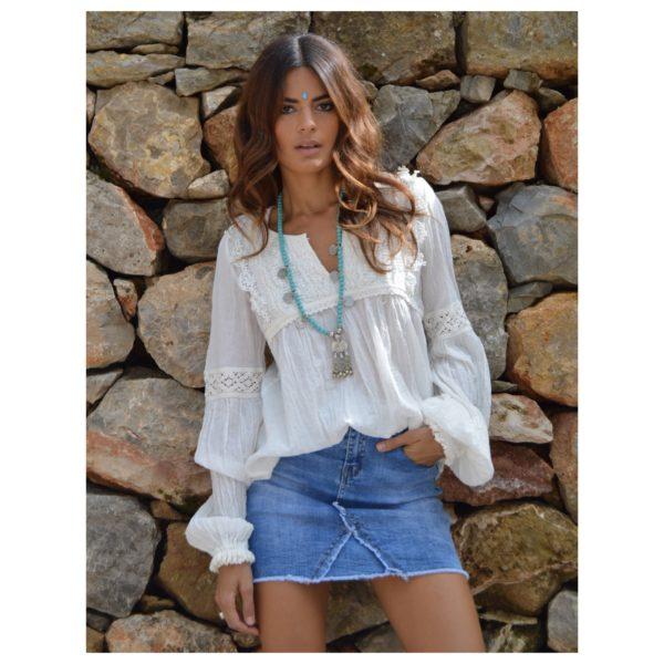 Boho blouse lace white fioroni Ibiza
