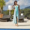 Free beach asymmetrical turquoisa summer dress ibiza trendy