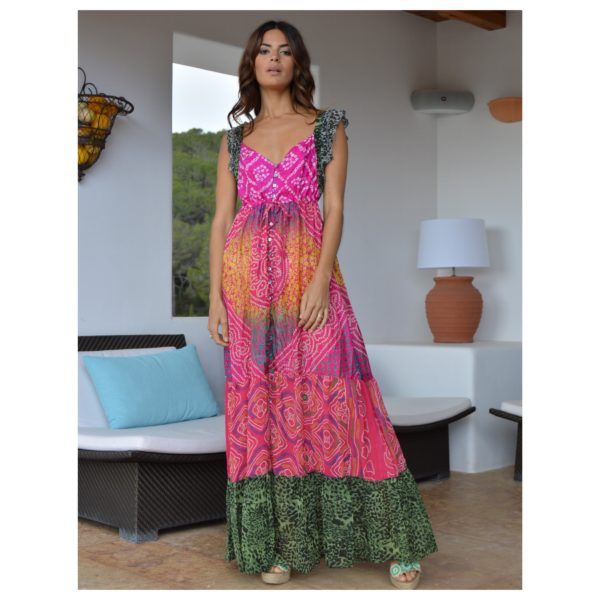 Indian maxi boho dress silk and leopard print Izuskan Ibiza