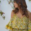vestido asimetrico flores vintage amarillo ibiza trendy free love