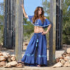 Buttoned skirt ibiza trendy boho chic in blue