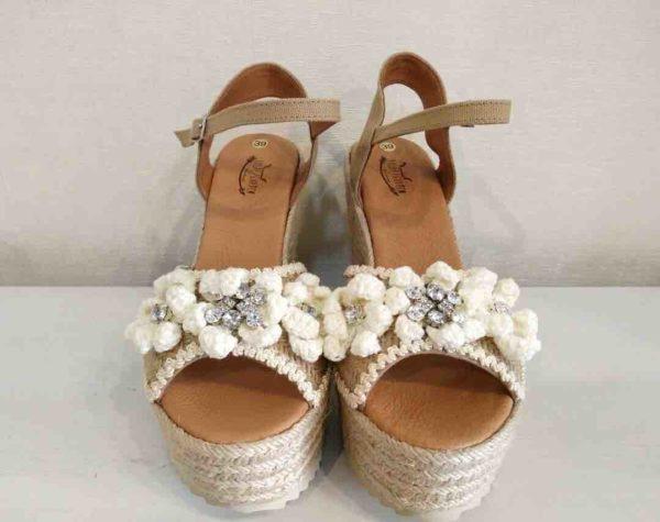Sandalias crochet blancas boho chic Lola