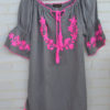 embroidery dress in grey and pink thailand