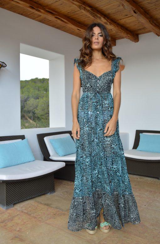 vestido izuskan blue leopard