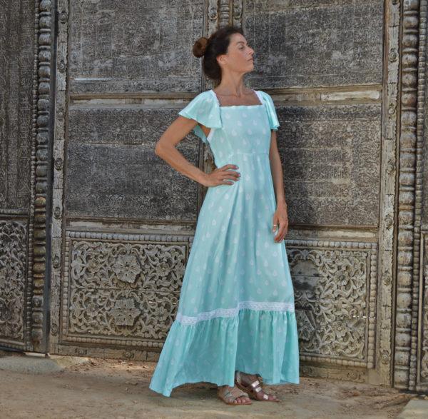 vestido turquesa largo boho ibiza trendy