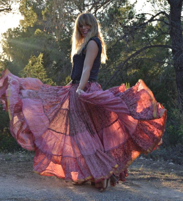 Maxi falda gypsy ibiza trendy rosa