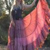 maxi falda gypsy rosa boho chic ibiza trendy