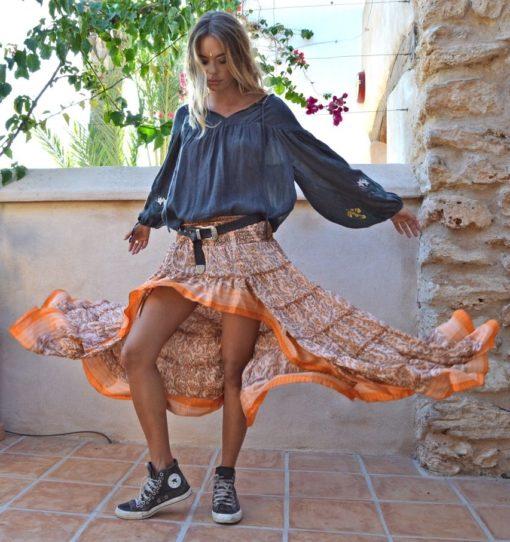 FAlda boho chic gypsy ibiza trendy free naranja asimetrica red