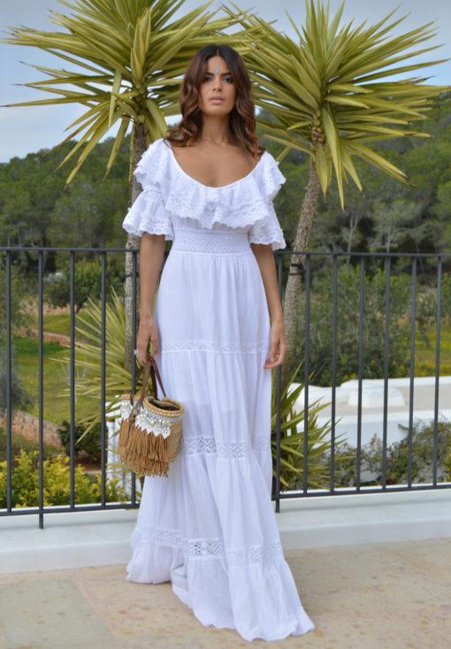 white ibizan adlib gown boho