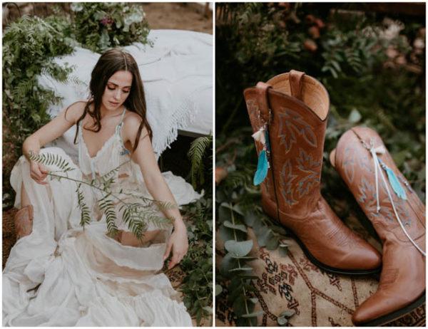 novia botas gems gems vestido boho