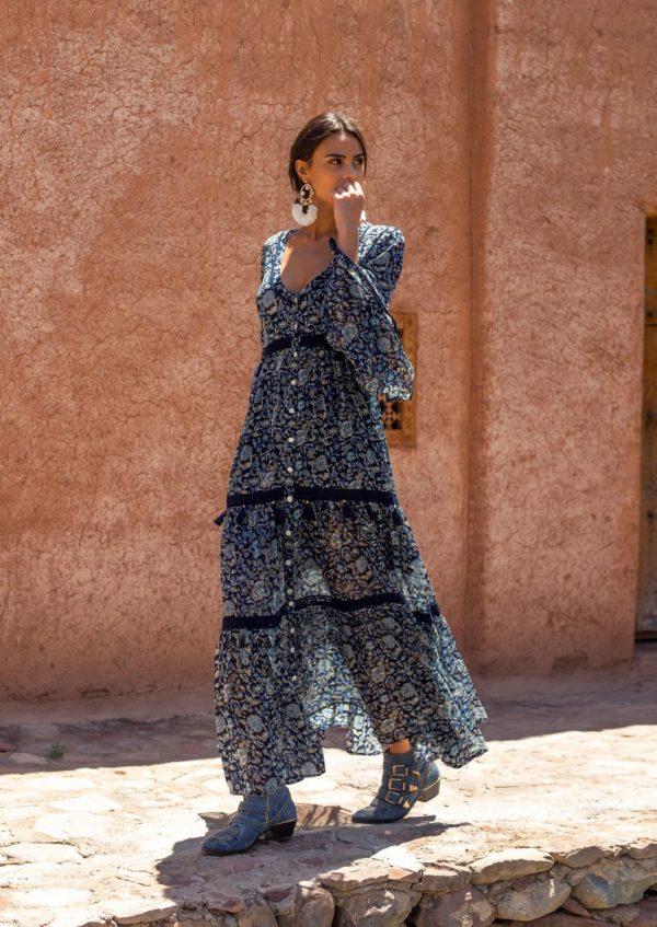 vestido abotonado color azul miss june ibiza trendy