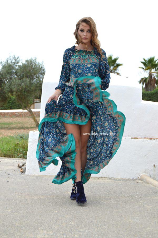 blue nights boho dress ibiza trendy