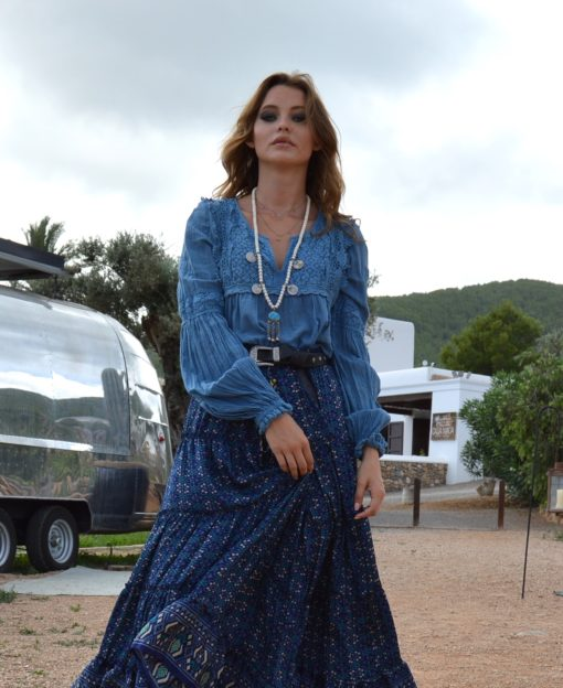 blusa boho lace in blue fioroni collection ibiza trendy